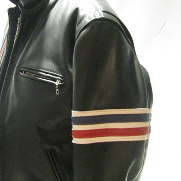 NEW Schott NYC Hard Rider Striped USA 671 USA MADE Leather Motorcycle Jacket NWT