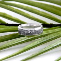 Stainless Steel Personalized Actual Fingerprint Engraved On Outside Of Ring