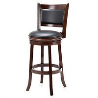 Cherry 29-inch Solid Wood Bar Stool with Faux Leather Swivel Seat