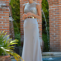 COLORS 1449 Silver Beaded Prom Dress Bridesmaid Evening Gown