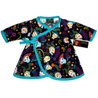 "Kid's ""Sugar Skull"" Long Sleeve Dress by Conscious Children's Clothes (Blue)"