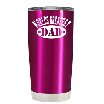 Worlds Greatest Dad on Translucent Pink 20 oz Tumbler Cup