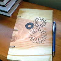 Daisy Flower Notebook / Journal Wood Burnt by BillsWoodenPleasures
