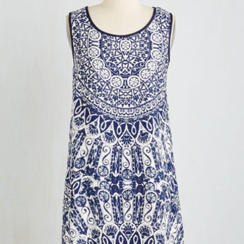 Boho Mid-length Sleeveless Shift Stunning Starchitect Dress by ModCloth
