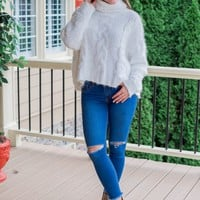 White Chunky Turtleneck Sweater Top