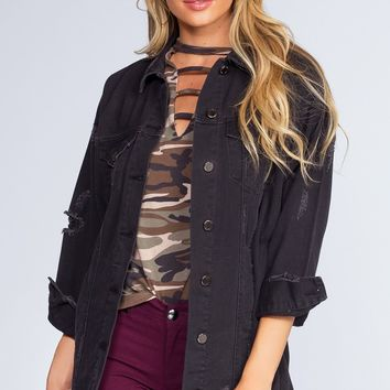 Dark Night Distressed Denim Jacket