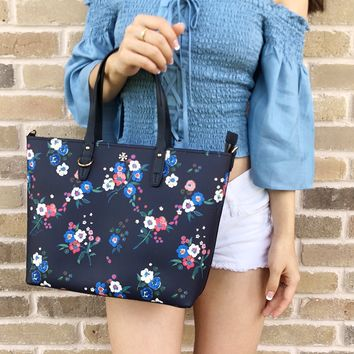 Tory Burch Kerrington Small Top Zip Tote Pansy Bouquet Floral Navy