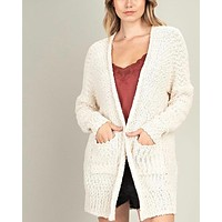 fuzzy front pocketed open cardigan - ivory
