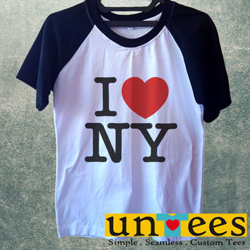 I Love New York Logo Short Raglan Sleeves T-shirt