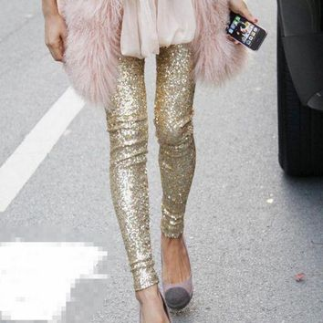 VXL8HQ Hot Sale Fashion show thin sequins pants