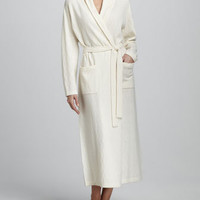 Chevron-Knit Long Cashmere Robe, Ivory