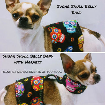 Sugar Skulls Day of the Dead Male Dog Belly Band -Group One Dog Gallery®No Slip Harness Option