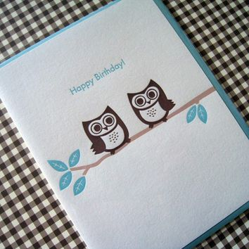 Letterpress Birthday Card Owl by luckybeepress on Etsy