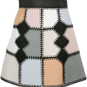 Loveless Faux Suede Patchwork Mini Skirt - Farfetch