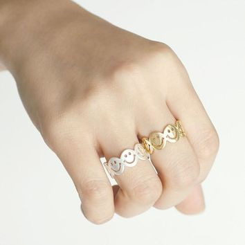 Smile Band Ring / smiley face ring, funny ring, girls ring, happy face ring / R127