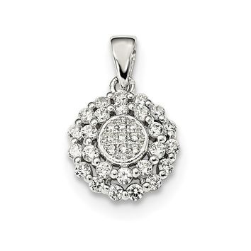 925 Sterling Silver Polished Cubic Zirconia Pendant
