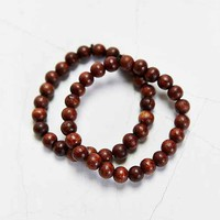 Double Brown Beaded Bracelet- Brown One