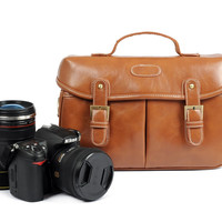 Brown Vintage Look Britpop DSLR Camera Bag  Shoulder PU Bag Christmas Gift