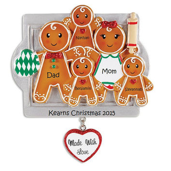 Custom Gingerbread Family Ornament, Cute Custom Family Ornament, Family of 5 Holiday Ornament