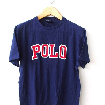 25% SALE POLO Ralph Lauren Spell Out Joe Pesci Vintage 90's Big Logo 80's Hip Hop Blue Tee T shirt Size M
