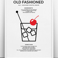 Old Fashioned Cocktail Art Print - PRINTABLE FILE. Classic Cocktail Recipe Print. Modern Cocktail Kitchen Art. Call Me Old Fashioned Print.