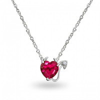 925 Ruby Color CZ Devils Heart Necklace 16in