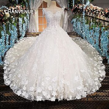 LS00174 vestido de noiva see through back beading short sleeves lace ball gown cathedral train Luxury wedding dresses real photo