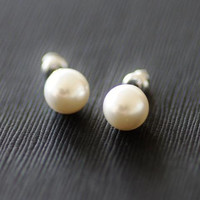 White Pearl Stud Earrings, 5mm, 18K White Gold Plating