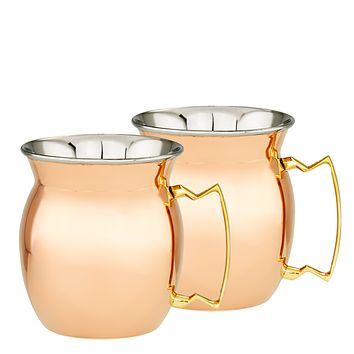 """16 Oz. 4"""" H Two-Ply Solid Copper and Stainless Steel Moscow Mule Mugs Set of 2"""