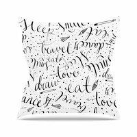 "MaJoBV ""Life Must-dos / Black"" White Outdoor Throw Pillow"