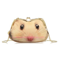 Diagonal Chain Sweet Little Hamster Cute Lolita Clutch