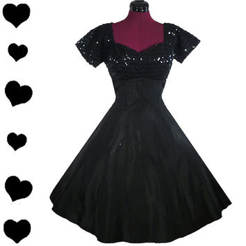 Dress Vintage 50s Black SEQUIN Taffeta Full Skirt Party PROM Dress S Rockabilly Pinup
