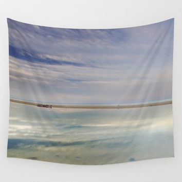 """Peace at the seasunset"". Magic reflections Wall Tapestry by Guido Montañés"