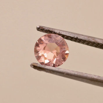 Padparadscha Color 6.6 mm Round Sapphire Precision Cut  Loose Faceted Gemstone for Engagement Ring or Anniversary Ring September Birthstone