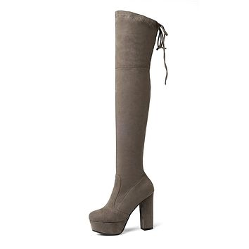 Faux Suede Platform Chunky Heel Over the Knee Boots Winter Shoes for Woman 5189
