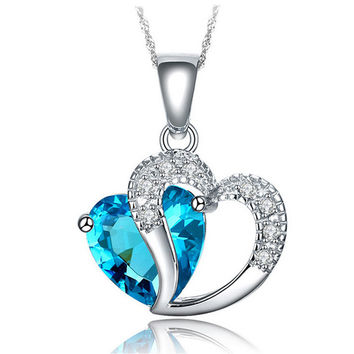 925 Sterling Silver Plated Blue Crystal Gemstone Amethyst Heart Pendant Necklace Gift