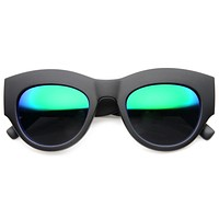 Oversize Thick Brow Cat Eye Flash Mirror Lens Sunglasses 9746