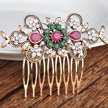 CREYCI7 High Quality Flower Hair Accessories best Bridal Jewelry Antique gold Vintage Hair Clip Hair Combs Bridal Hairwear Bijuterira