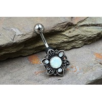 White Opalite Flower Crystal Belly Button Ring