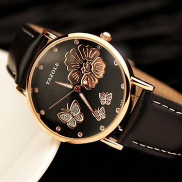 New Fashion 2017 Watches Butterfly Flower Bling Genuine Leather
