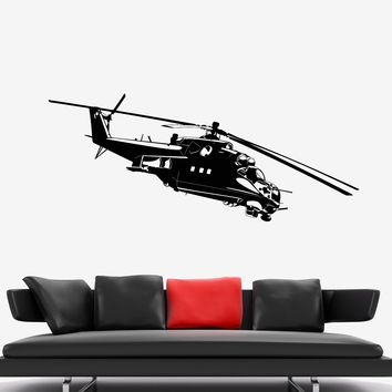 Vinyl Wall Decal Military Helicopter Apache Army War Soldier Stickers Unique Gift (1949ig)
