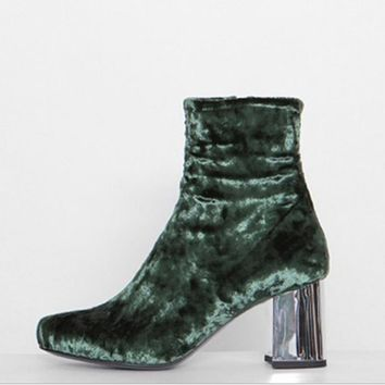 Plush velvet female boots and thick with restoring ancient ways round head sexy five-color boots Green