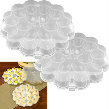 Set of 2 Deviled Egg Trays w- Snap On Lids - Holds 36 Eggs