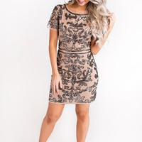 Front And Center Sequin Dress (Nude/Black)