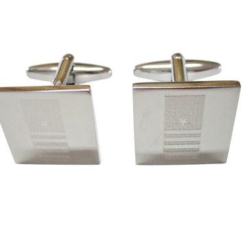 Silver Toned Etched Nautical Captain Rank Cufflinks