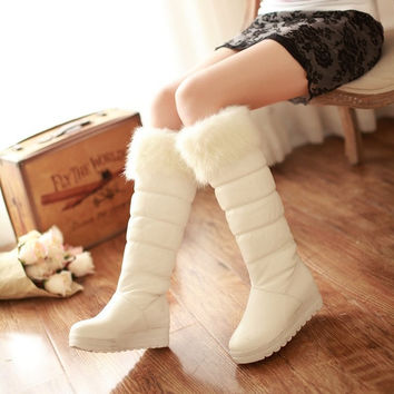 Long boots New arrival fashion fur lining warm snow boots autumn and winter new mature female tall canister boots style warm boots warm and comfortable flat with high boots = 1932941572