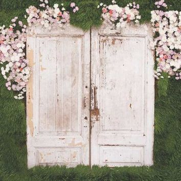 PRINTED WOOD DOORS GREENERY AND FLOWERS BACKDROP 5x6 - LCTC6100 - LAST CALL