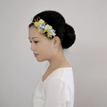 Frangipani & Bluebell - one of a kind headband, yellow andblue flower wedding headpiece