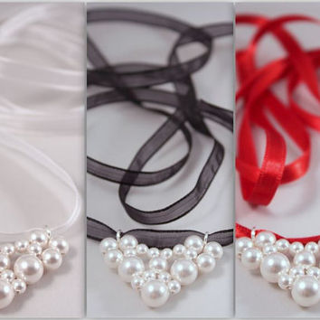 Bridal heart pendant, Swarovski white pearls, interchangeable organza satin black, white, red ribbon necklace - FREE Shipping