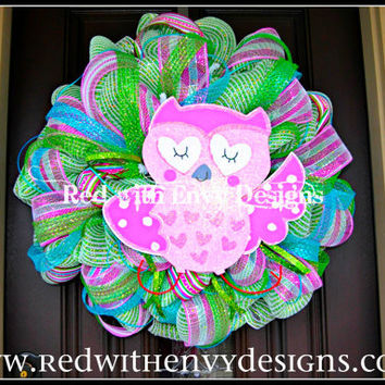 Spring Wreath, Valentine's Day Wreath, Wreath, Deco Mesh Wreath, Owl Wreath, Owl, Owl Decoration
